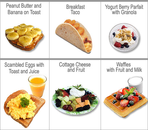 breakfast food chart - peanut butter and banana on toast, frozen waffles with fruit an milk, yogurt berry parfait with granola, scrambled eggs with toast and juice, breakfast taco, cottage cheese and fruit bowl